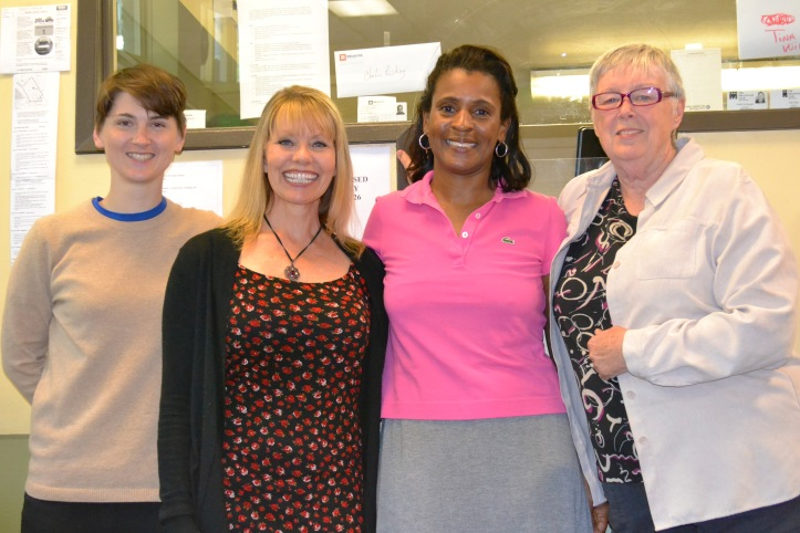 Teresa with members of the Millionair Club Charity employment staff. From left to right, Mariah, Rhonda, Teresa and Sherrill.